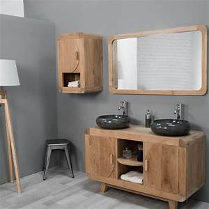 Meuble Vasque Bois Salle De Bain : meuble sous vasque double vasque en bois teck massif r tro rectangle naturel l 120 cm ~ Voncanada.com Idées de Décoration