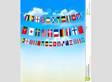 World Bunting Flags On Blue Sky Stock Vector Image
