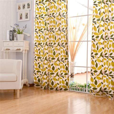 Pattern Drapes - yellow cotton living room leaf pattern curtains