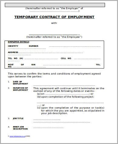 temporary contract template 10 temporary employment contract sles sle templates