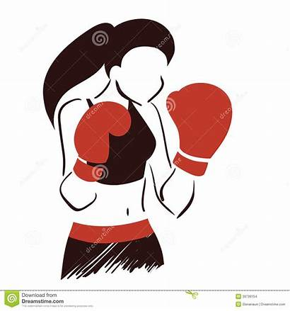 Boxing Clipart Woman Boxercise Gloves Icon Vector