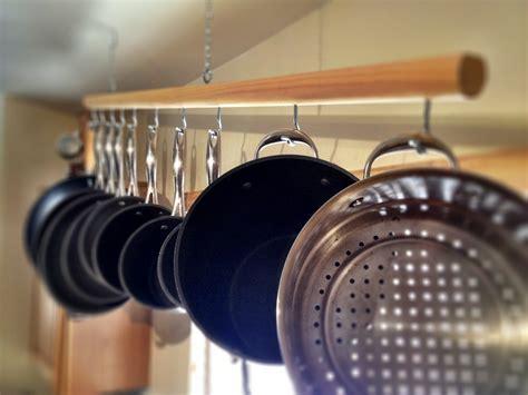 pans pots hanging pot rack racks wooden kitchen pan iron cast hang diy storage kitchens ceiling hooks bar wall etsy