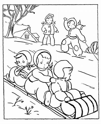 Winter Coloring Pages Printable Activities Sledding