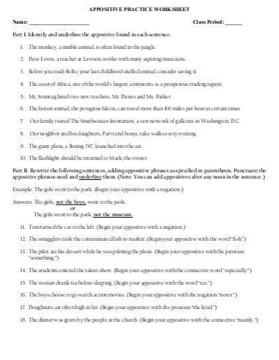 appositive practice worksheet mrstolin
