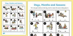 Days Months And Seasons Missing Letters Worksheet