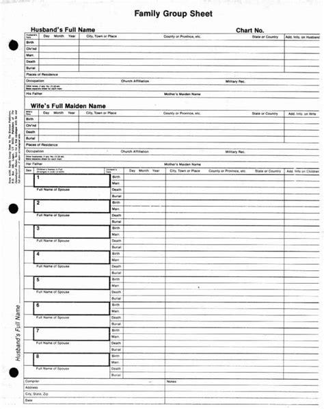 family group sheet genealogy pinterest  family