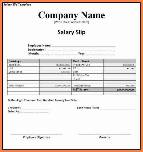 salary payslip format  excel   salary slip