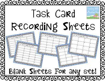 blank task card recording sheets  teaching