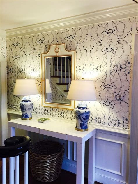 lindsay cowles llc home  blue wallpaper  entry