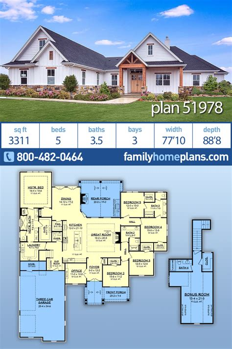 Southern Style House Plan 51978 with 5 Bed 4 Bath 3 Car