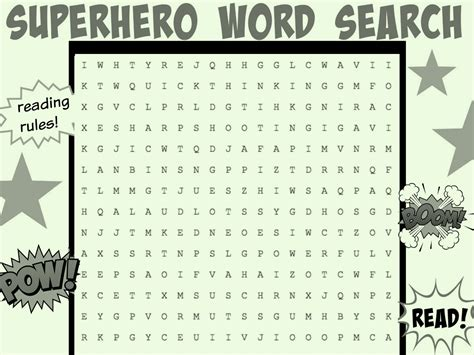 superhero word search worksheets printables