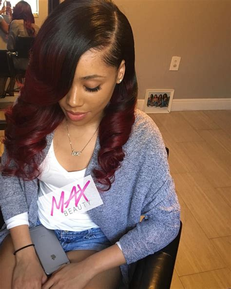 Sew In Weave Hairstyles With Color by Black Cherry Sew In With Curls Using 4 Bundles Of