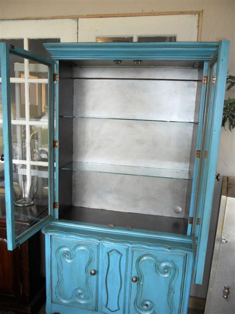 turquoise blue small hutch  china cabinet vintage chic