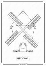 Windmill Coloring Printable Pdf Popular sketch template