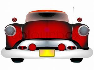 Red classic car against white background, abstract art ...