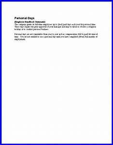 Sample Layoff Letter Personal Days Policy Sample