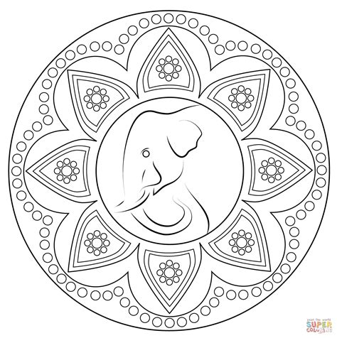 indian rangoli  elephant coloring page