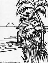 Sunset Coloring Pages Ocean Print Tropical Island sketch template
