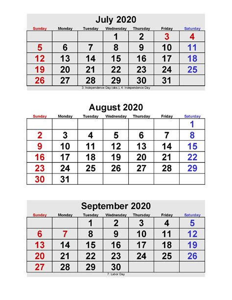 july august september  calendar  months  page