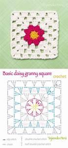 Crochet  Basic Daisy Granny Square Pattern  Diagram Or