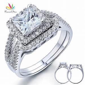 wholesale free shipping 15 carat princess created diamond With wholesale wedding ring sets