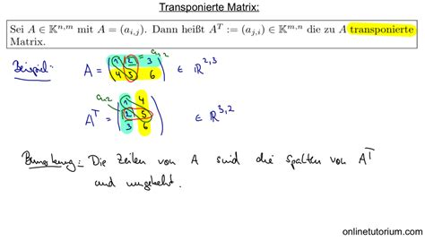 transponierte matrix berechnen mathematik matrizen matrix