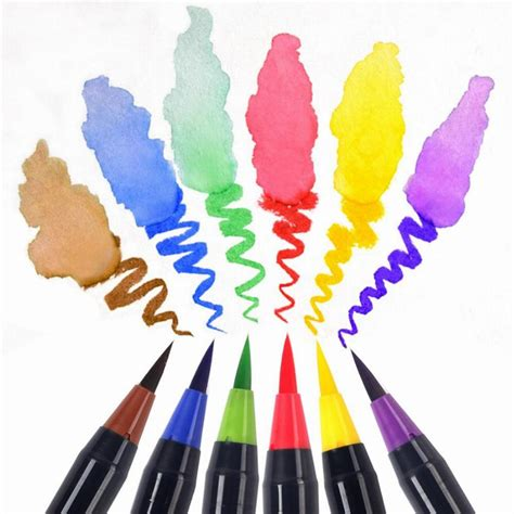 Coloring With Brush Pen by 20 Color Set Writing Brush Soft Pen Water Color Marker