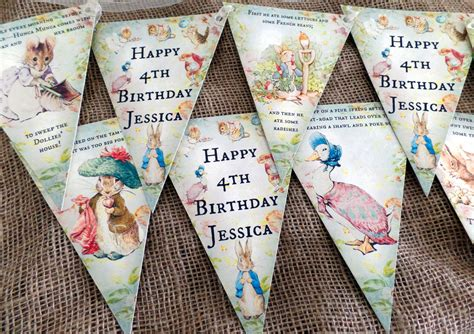3m personalised beatrix potter rabbit bunting banner for