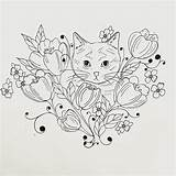 Coloring Embroidery Flowers Easter Myrna Morrison Template Collective Olive Cats sketch template