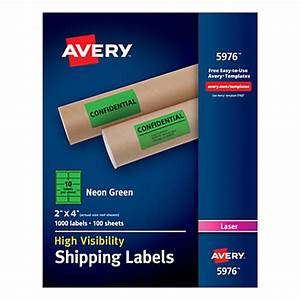 Avery Neon Shipping Labels 2 x 4 Neon Green Box 1000 by