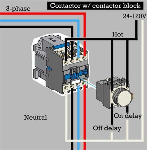 240 Vac Contactor Wiring by How To Wire Contactor Block Delay Timer Http