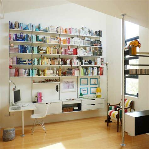 rangement mural bureau le bureau avec étagère designs créatifs