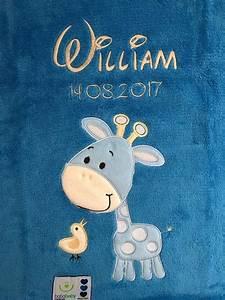 Babydecke Mit Namen Bestickt : babydecke bestickt mit name blau giraffe ~ Watch28wear.com Haus und Dekorationen