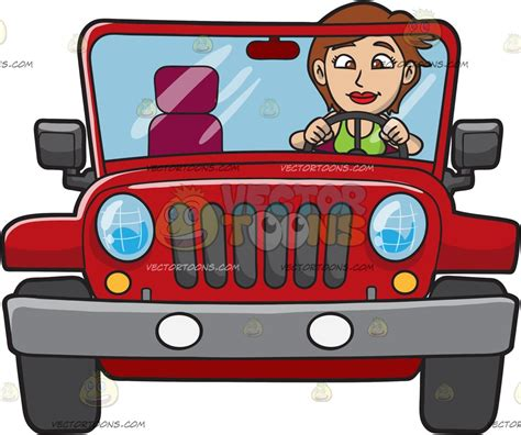 red jeep clipart a woman driving a rugged red jeep cartoon clipart vector