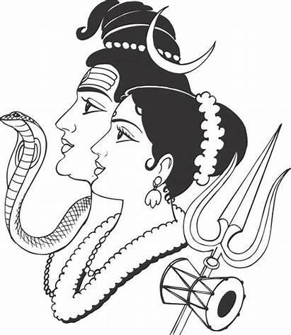 God Hindu Drawing Clipart Shiva Parvathi Clip