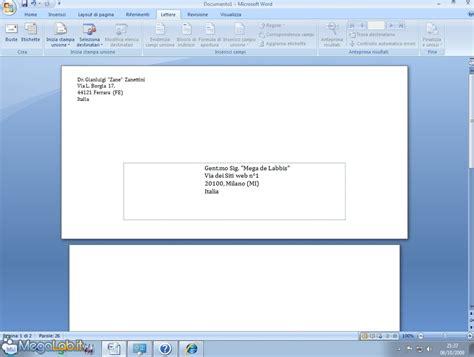 come compilare una busta da lettere stare gli indirizzi su una busta con writer e word