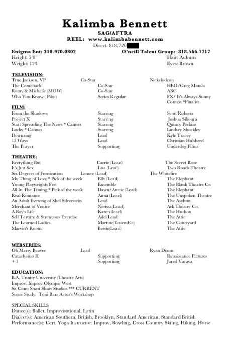 resume for musical auditions musical resume template bestsellerbookdb