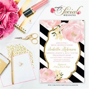 Romantic garden peonie flowers blush pink and gold black for Black white and blush wedding invitations
