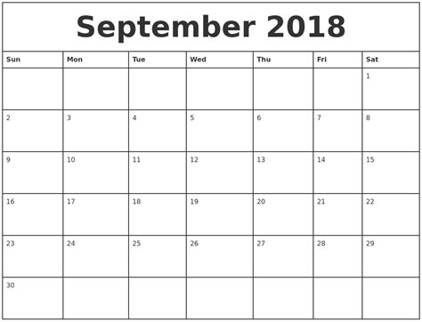 september printable monthly calendar