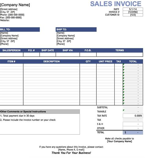 sales invoice template excel  word