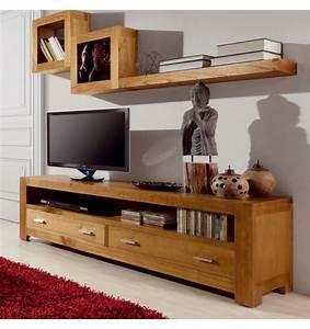 Meuble Tele En Bois : meuble television en bois meuble tv marron clair ~ Melissatoandfro.com Idées de Décoration