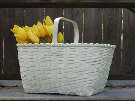 See more ideas about baskets on wall, basket, african decor. Vintage White Gathering Basket - Chippy Farmhouse Decor | Vintage home accessories, Vintage ...