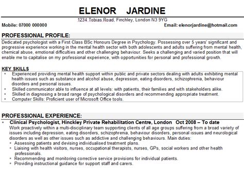 Psychology Curriculum Vitae Exles by Sle Cv For Psychologists