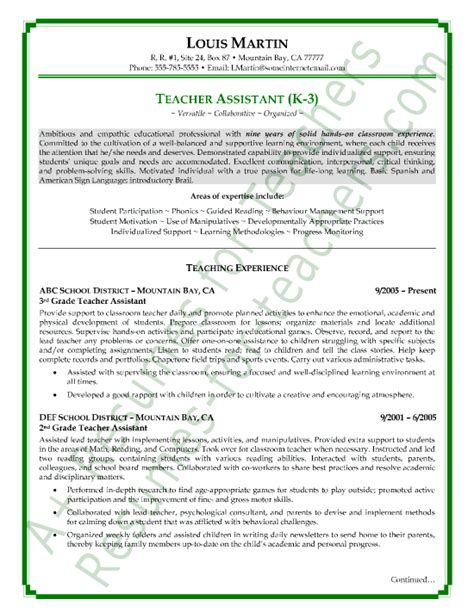 teachers aide resume objective sle resumes view page two of this assistant resume sle resumes