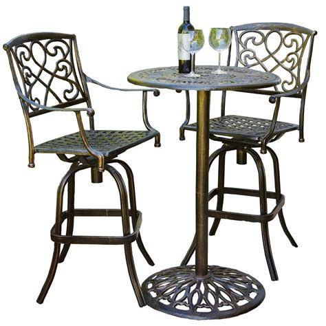 tall outdoor bistro table set cast aluminum brown outdoor bistro bar set outdoor