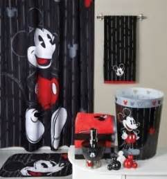 mickey mouse bathroom set shower curtain bath rug hooks 2 towels trash can more ebay