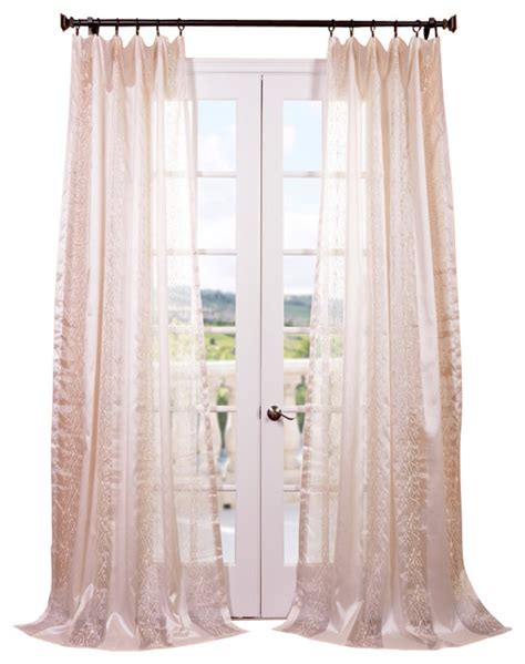 juliette ivory embroidered sheer curtain contemporary