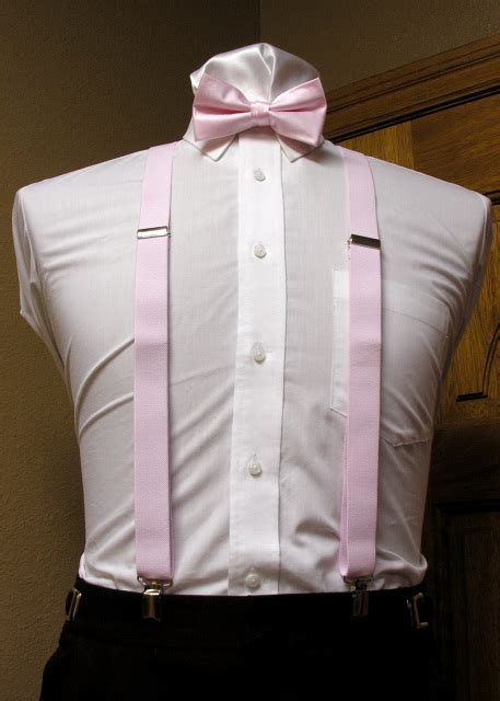 light pink suspenders clip on suspenders 1 inch with matching bowties