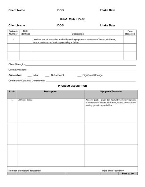 treatment plan template for counseling treatment plan template cyberuse