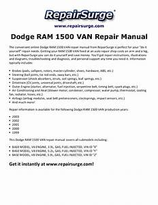 2000 Dodge Van 1500 Repair Manual